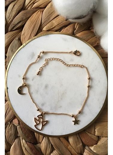 My Joyas Design Yıldız Melek ve Ay Halhal Altın